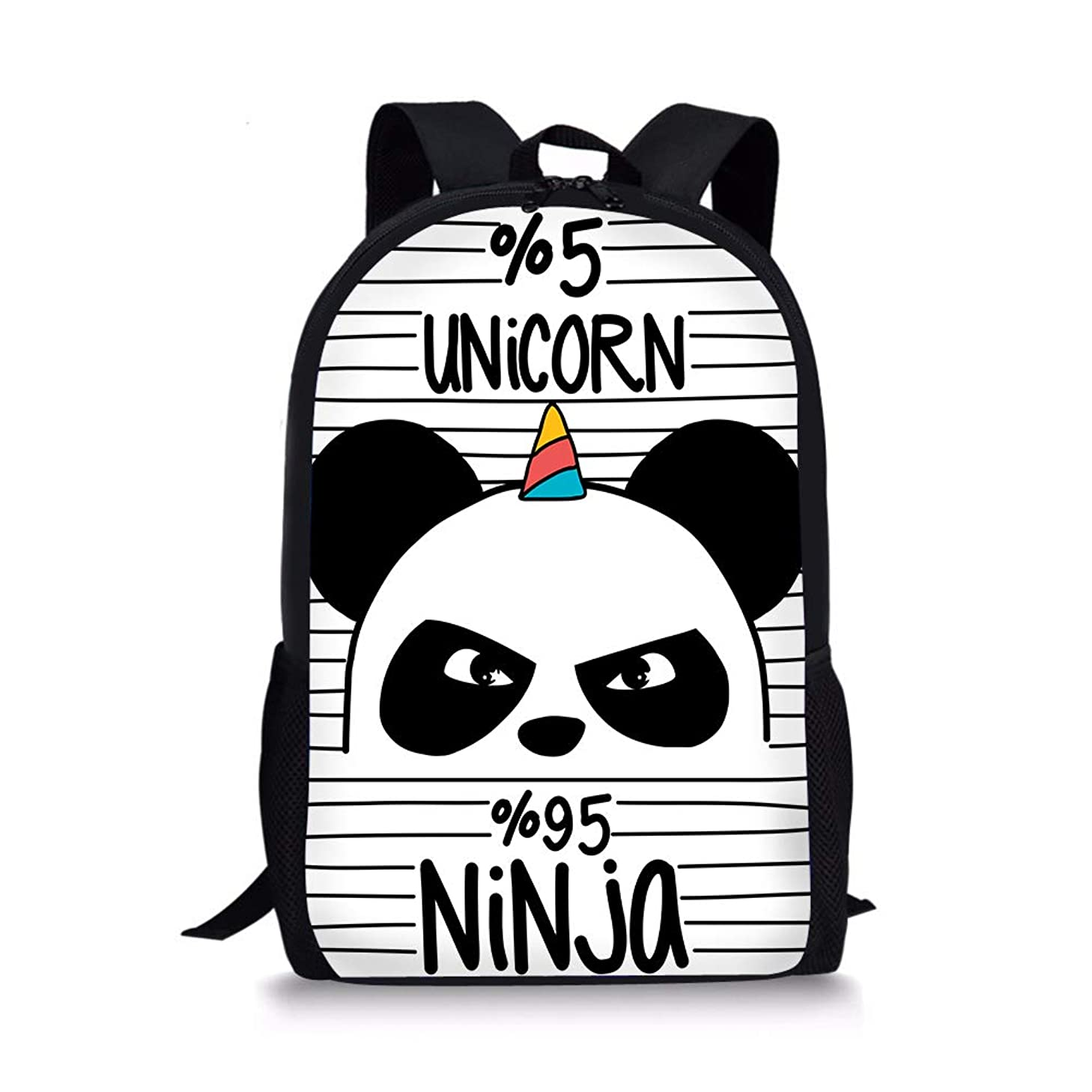 PrelerDIY Unicorn Panda Kids Backpack School Children Book Bag Rucksack Lightweight Daypack for Boys Girls 17 Inch