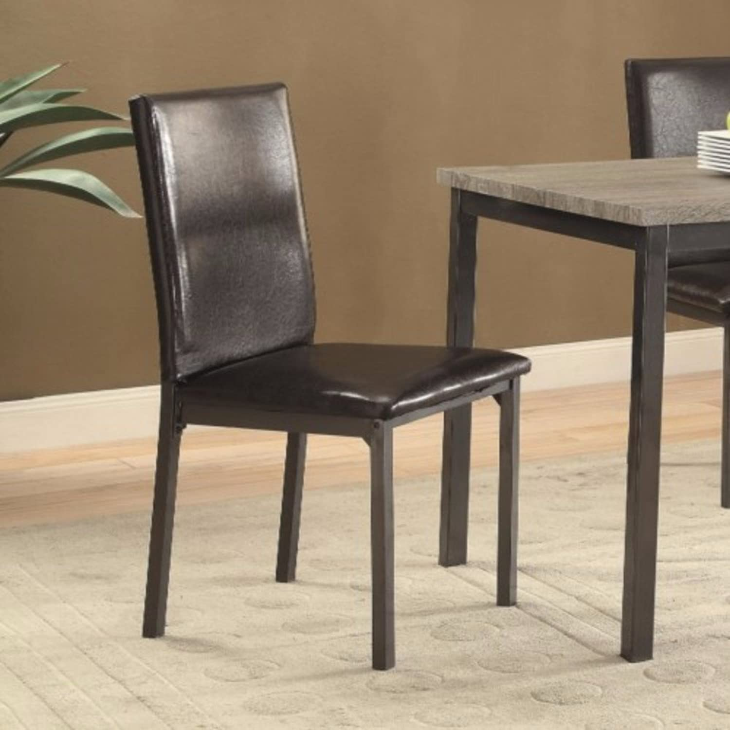 Benzara Contemporary Upholstered Dining Chair with Full Back, Set of 2, Black