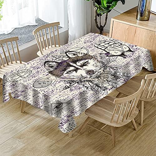 Mantel Rectangular Azul Mantel Decorativo Apto para Picnics, Fiestas Y Banquetes Mantel Impermeable, A Prueba De Aceite, Lavable con Dibujo De Lobo
