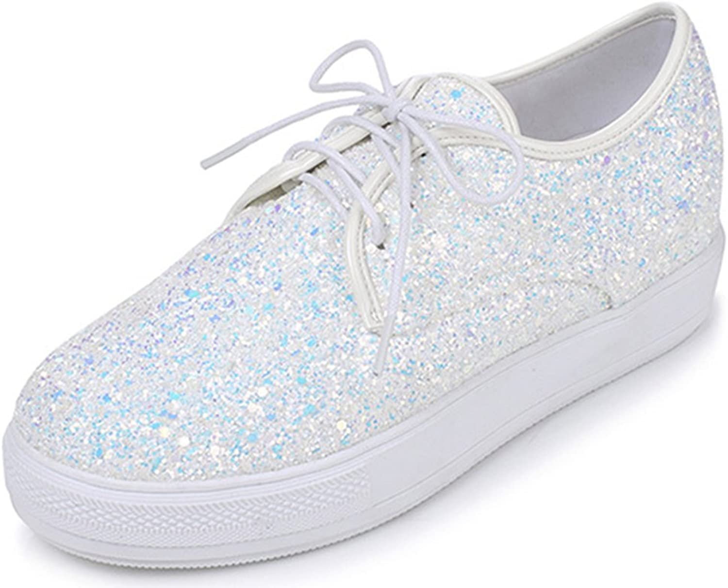 IDIFU Women's Glitter Sequined Low Top Lace up Platform Sneakers Mid Wedge Heels shoes