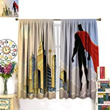 Anniutwo Superhero Blackout Curtain Hero Watching The City on Clouds at Sunset Protector Fantasy Architecture Design Window Curtain Drape Multicolor W96 x L84 inch