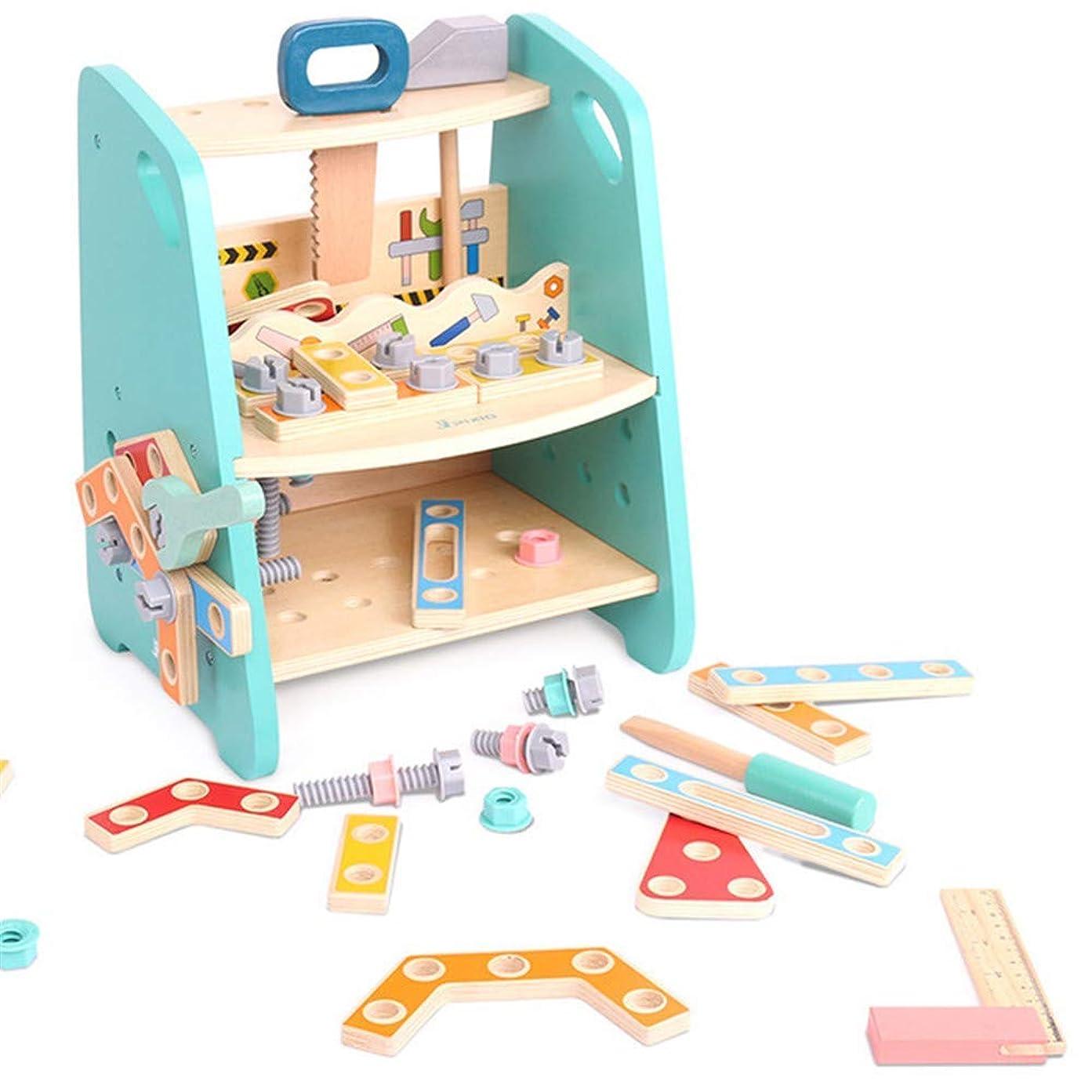 チューリップ聴衆楽な色とりどりの木のツールとポータブルツールの椅子を構築する子供の木製おもちゃを構築子供の幼児のDIYの大工のおもちゃ教育ひもでつなぐおもちゃ