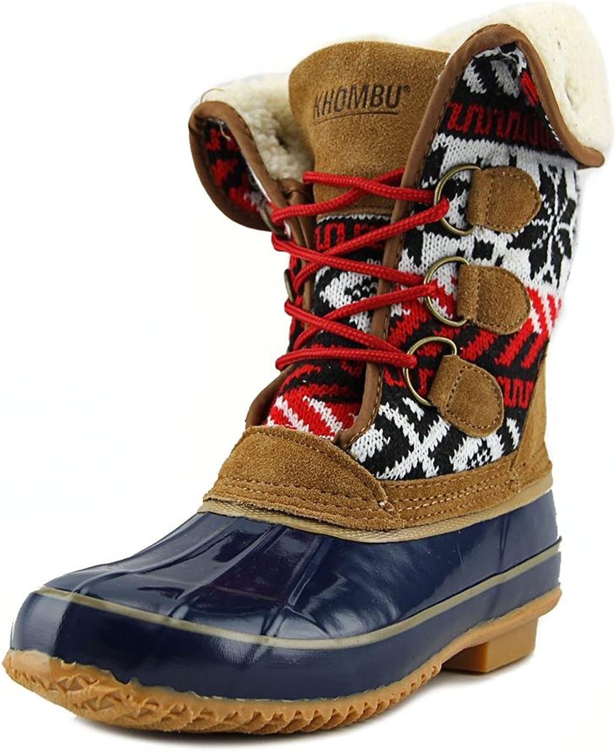 Khombu Jenna Fleece Lined Mid Calf Winter Boots, Navy Tan