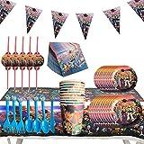 REYOK Juego de Cubiertos Reutilizable, Set de 92 Piezas Plato de Toy Story 4 para Fiestas Incluye Pancarta Platos Cubiertos Servilletas Mantel Cucharas para Fiesta Baby Shower