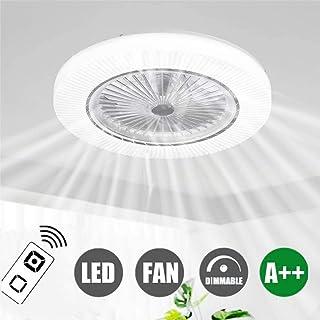 H.W.S Ventilador De Techo Modernas Con Iluminación Creativa Y Luz La Lámpara Ventiladores Regulable Invisibles A Distancia Silencioso Para Habitación Los Niños,Blanco