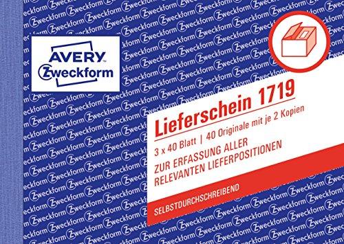 AVERY Zweckform 1719 Lieferschein speziell für Österreich (A6 quer, 3x40 Blatt, selbstdurchschreibend mit farbigen Durchschlägen, zur Erfassung aller relevanten Lieferpositionen) weiß/gelb/rosa