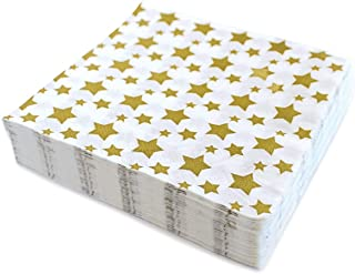 Gold Star Luncheon Napkins Paper Decorative Print 6.5 Inch Napkin Disposable for Lunch Party, Dinner Buffet, Wedding & Bir...