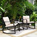 Greesum 3 Pieces Rocking Wicker Bistro Set, Patio Outdoor Furniture Conversation Sets with Porch Chairs and Glass Coffee Table, Beige
