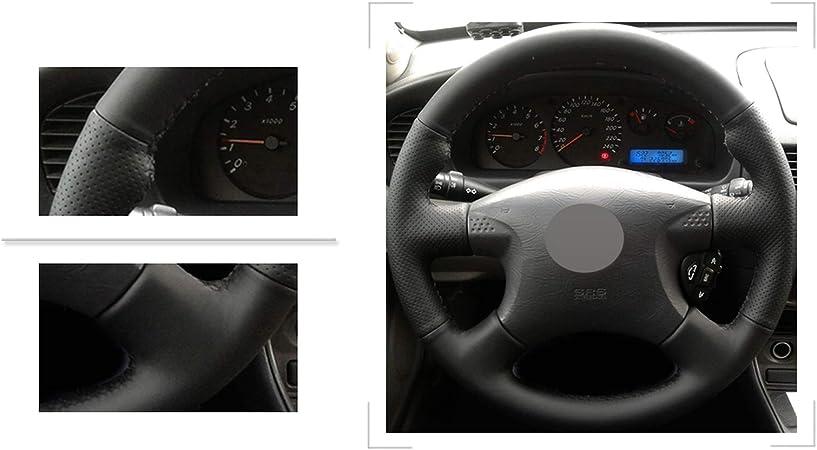 Primera JIRENSHU Cubierta de Volante de Cuero Negro P12 N16 T30 para Nissan Almera X-Trail Terrano 2 Pathfinder Paladin