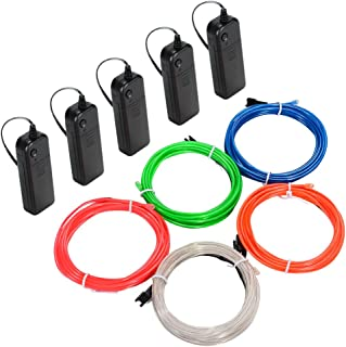 Litake EL Wire Kit, 9.82ft Multi-colored Neon Rope Lights, Portable Battery Operated with 3 Modes for Cosplay Dress Festiv...