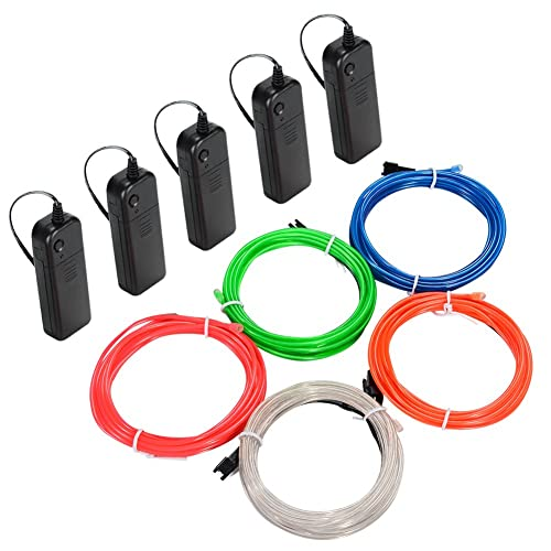 Litake EL Wire, 5x3m Neon Light Battery Powered Electroluminescent Wire Glowing Strobing Decorative Light for Xmas Party Pub