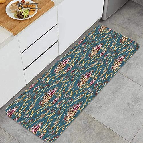ZUL Küchenmatte Teppich,Jacquardmuster gerahmt Bunte Blumenpixel,für Küche Bodenhaus Büro Waschbecken Wäscherei Super saugfähig und rutschfest