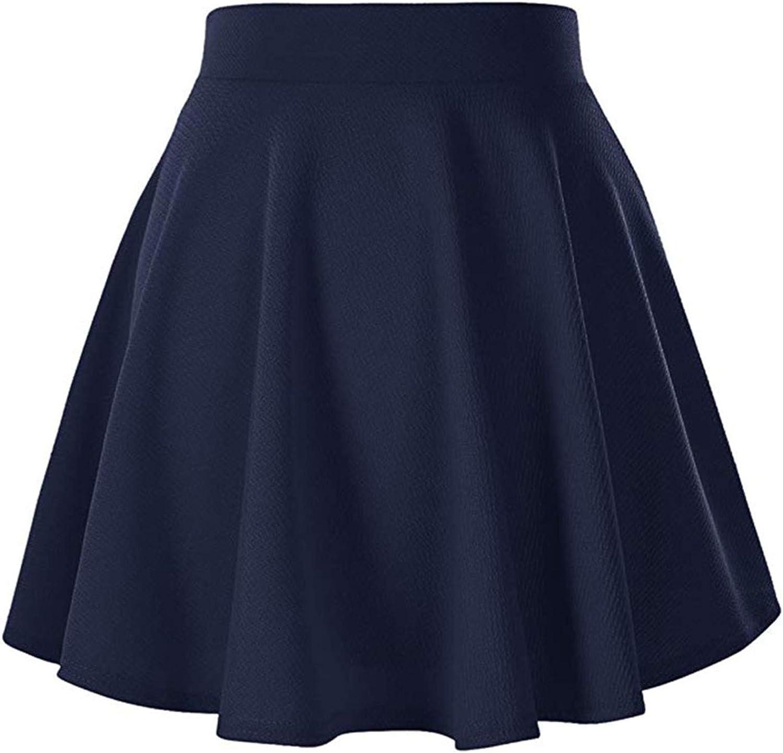 Women's Basic Versatile Stretchy Flared Mini Casual Skater Skirt Pleated
