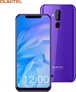 """OUKITEL C12 Android Smartphones,6.18""""(19:9) Full-Screen Display,2GB +16GB,Android 8.1OS Unlocked Cellphones,8MP+2MP Cameras,Dual SIM,Face Fingerprint Recognition Smartphone Global 3G Unlocked-Purple"""