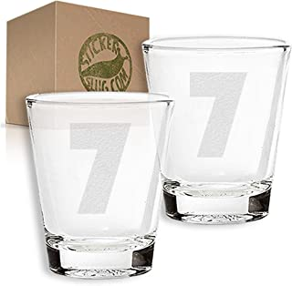 Stickerslug Engraved Number 7 Style 31 Seven Shot Glasses, 1.5 ounce, Set of 2