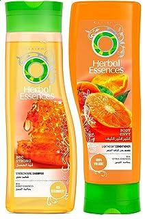 مجموعة هربل ايسنسز للشعر مكونة من شامبو مقوي للشعر بخلاصة العسل، 400 مل وبلسم لتعزيز كثافة الشعر بخلاصة الليمون، 400 مل