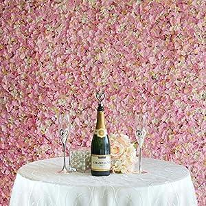 Efavormart 4 PCS Pink & Cream Silk Hydrangea Flower Mat Wall Wedding Event Decor for DIY Centerpiece Arrangement Party Decorations