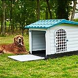 Casa de Perro Grande Exterior, Caseta para Perros Exterior Mediana, Caseta para Perros Exterior con Puerta, Casa Perro Plastico, Casitas para Gatos Exterior Impermeable (Size:L:(1-45kg animal))