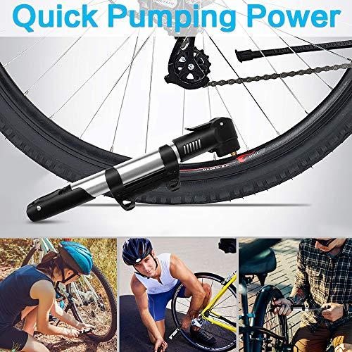synmixx Mini Fahrradpumpe Fahrrad Luftpumpe für Fahrrad Max Druck 120 PSI/8 bar mit Presta & Schrader Minipumpen für Rennrad, Mountainbike - 3