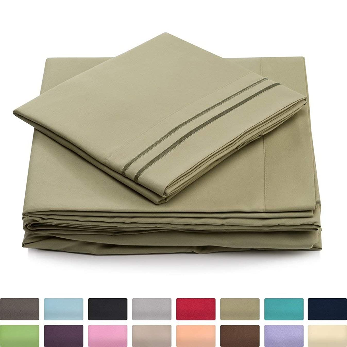 King Size Bed Sheets - Sage Green Luxury Sheet Set - Deep Pocket - Super Soft Hotel Bedding - Cool & Wrinkle Free - 1 Fitted, 1 Flat, 2 Pillow Cases - Light Green King Sheets - 4 Piece