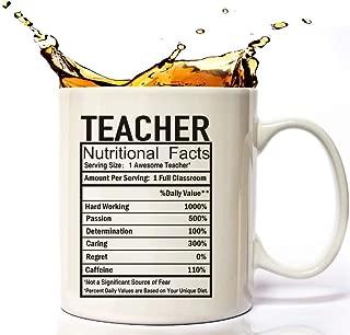 Teaching Gifts, Teacher Nutritional Facts Label Classroom Decorations Gift Coffee Mug 11 Oz, Teacher Gifts For Women, Man, Preschool, Elementary, High School, Teacher Cup.