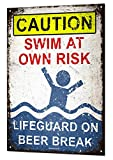 Lifeguard on Beer Break Large Metal Tin Sign Plaque Funny