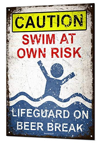 Lifeguard on Beer Break Large Metal Tin Sign Plaque Funny Pool Beach Bar Swimming Blechschilder