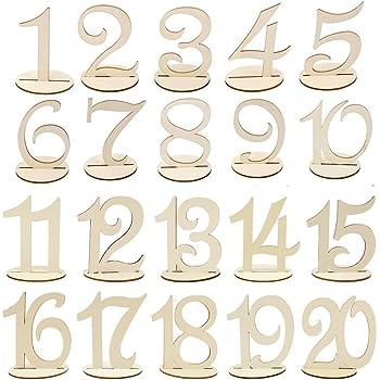 1-10 Holz Tischnummern Halter Basis f/ür Hochzeit Taufe Dekoration