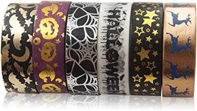 Piokio 6 Rolls Gold and Black Foil Halloween Washi Tape Set Total 197 Feet