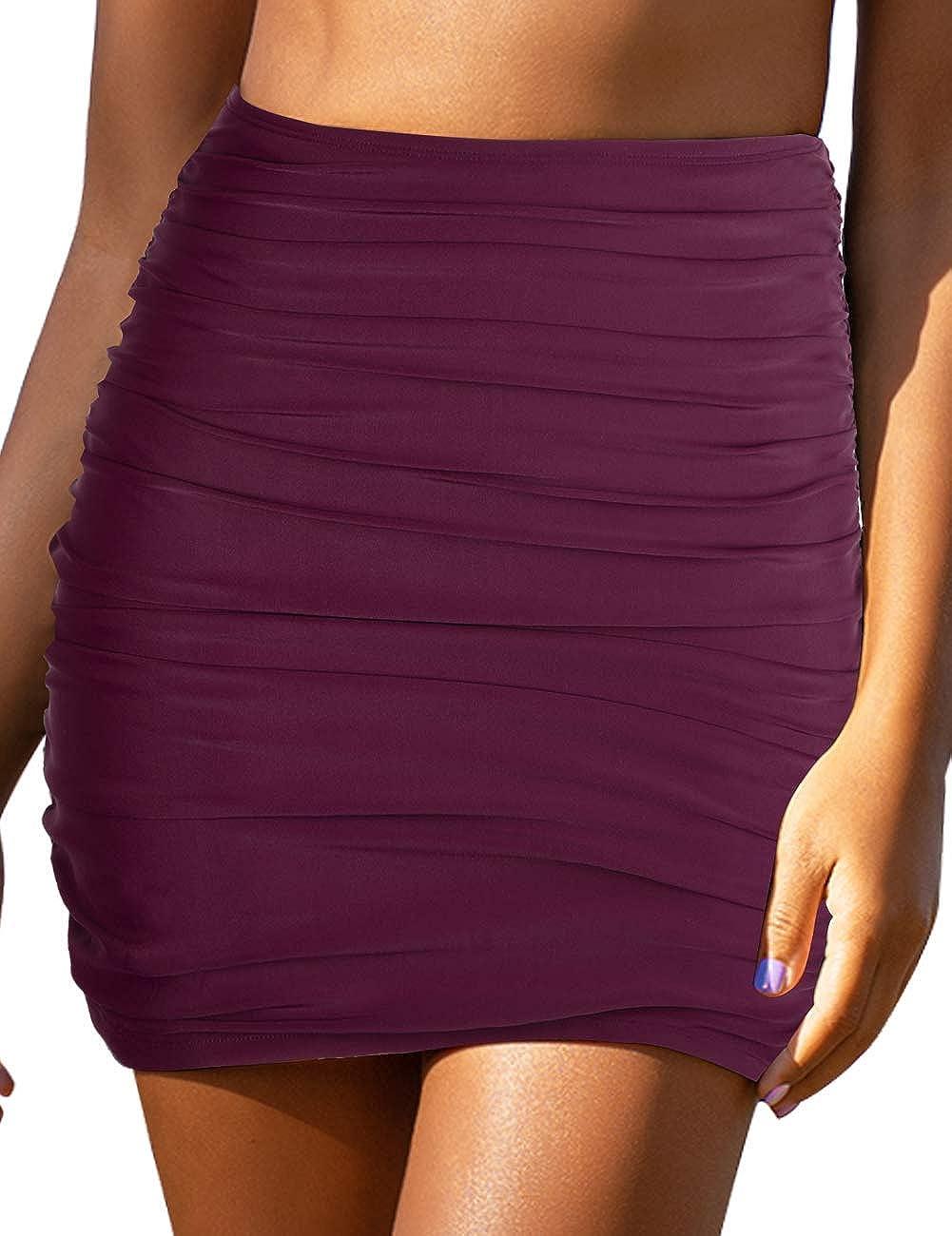 Hilor Women's Shirred High Waisted Swim Skirt Skirted Bikini Bottom Tummy Control Swimwear Bottom
