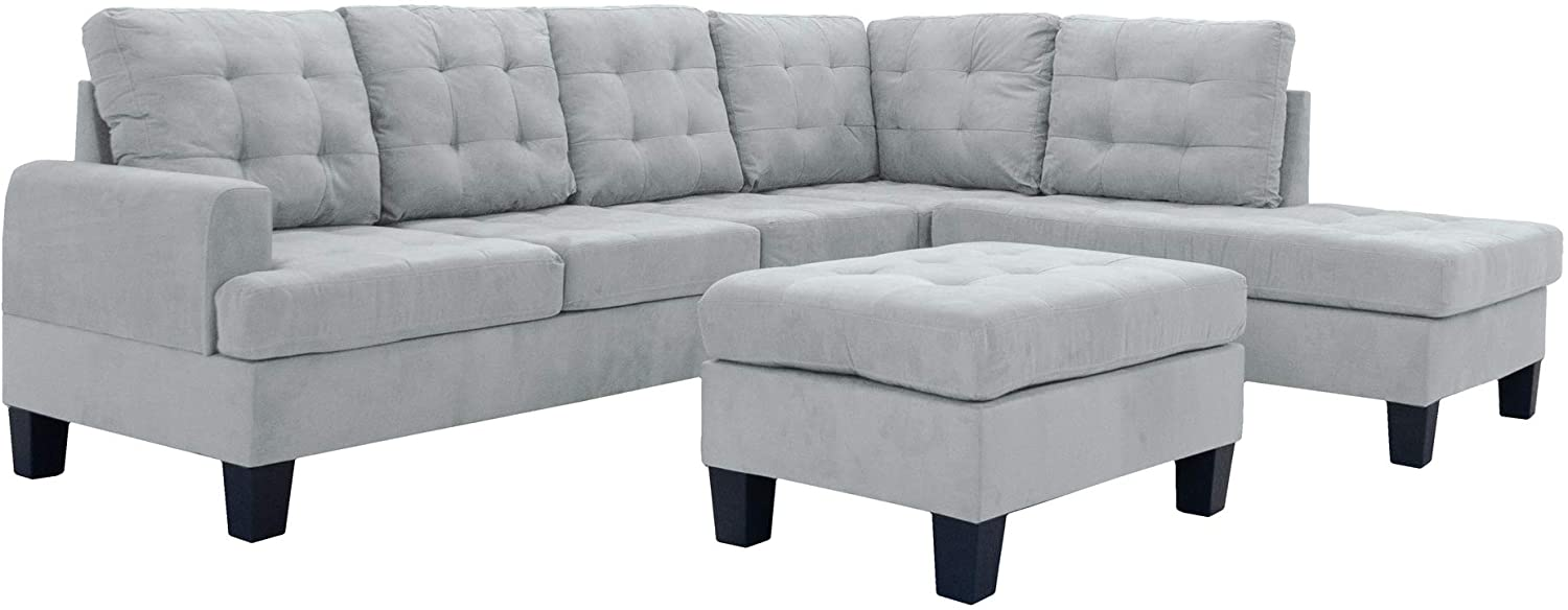 Casa Andrea Milano LLC 3 Piece Modern Reversible Sectional Sofa Couch with Chaise and Ottoman, Grey