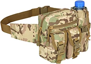 Teammao Tactical Waist Pack Fanny Pack Military Waist Bag with Water Bottle Holder Cycling Camping Hiking Hunting Fishing