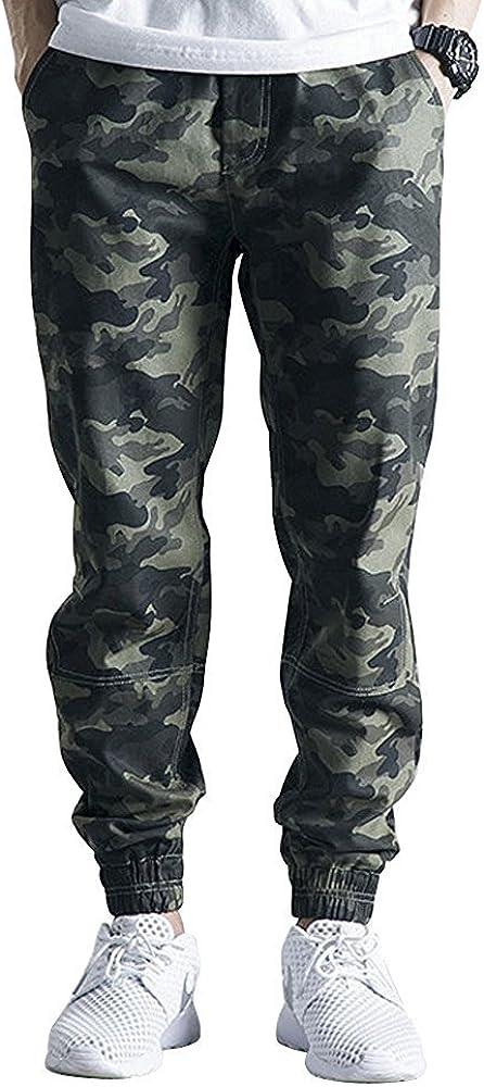 OCHENTA Men's Jogger Pants, Elastic Waist Twill Tapered Camo Trousers