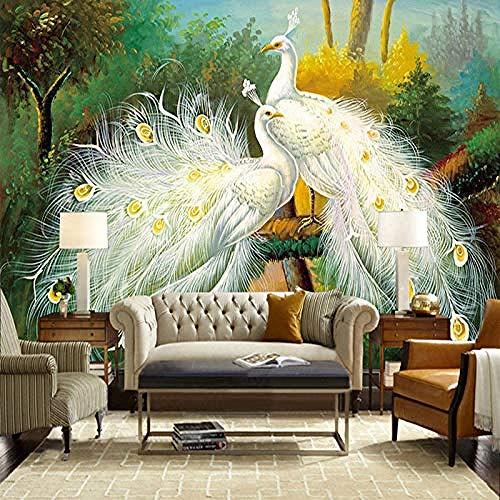 XHXI Estilo europeo creativo Hermoso pavo real blanco Animal Art Print Photo Wallpaper Carteles de g Pared Pintado Papel tapiz 3D Decoración dormitorio Fotomural sala sofá pared mural-200cm×140cm