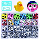 1860pcs Googly Wiggle Eyes Self-Adhesive, Wobbly Eyes for Craft Stickers Multi Colors and Sizes for DIY Craft...
