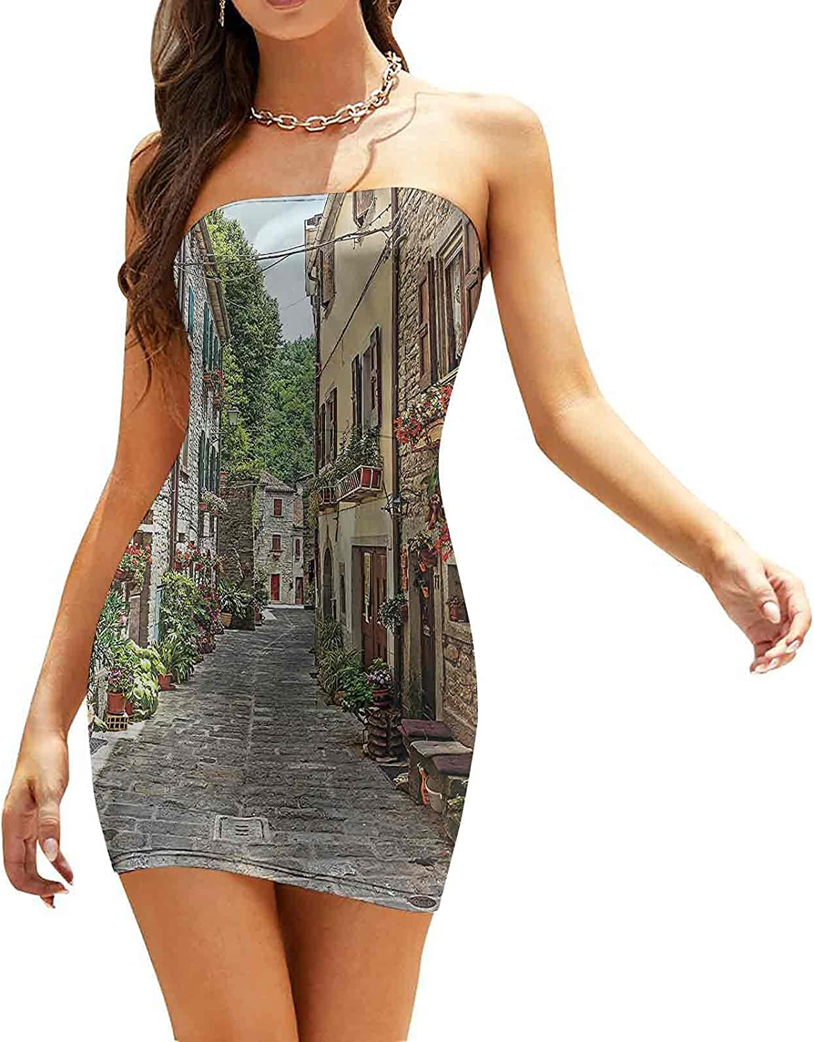 Women's Summer Strapless Dresses Map of The Ancient World Dresses