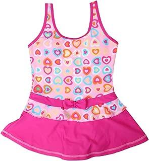 iDuoDuo Girls Sweet Heart Bowknot Swimwear Beach Princess One Piece Swimsuit Dress