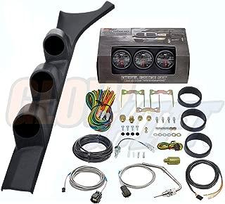 GlowShift Diesel Gauge Package for 1986-1993 Dodge Ram Cummins First 1st Gen - Black 7 Color 60 PSI Boost, 1500 F Pyrometer EGT & Transmission Temp Gauges - Black Triple Pillar Pod