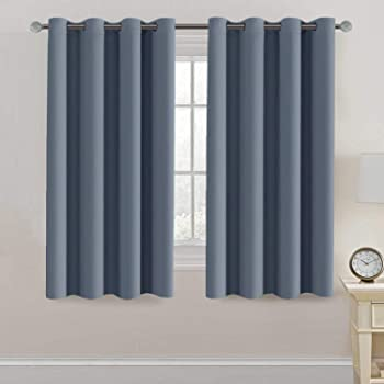 Amazon Com Blackout Thermal Insulated Curtains 63 Inche Length Light Blocking Curtain Panel Energy Saving Curtain 63 Ultra Soft And Smooth Grommets Drapes For Bedroom Living Room One Panel Stone Blue Kitchen Dining