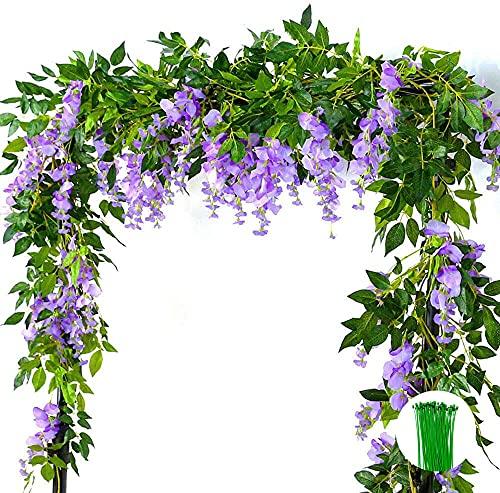 2 piezas de vid de flores artificiales de 2 m / 6.5 pies de glicina falsa...