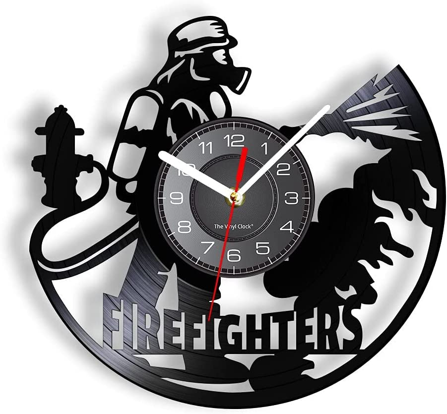 Vinyl Cheap sale Wall Clock Firefighter Outfiring V Department store of Real Made