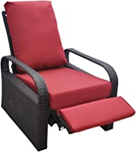 Outdoor Resin Wicker Patio Recliner Chair with Cushions, Patio Furniture Auto Adjustable Rattan Sofa, UV/Fade/Water/Sweat/Rust Resistant, Easy to Assemble (Red)