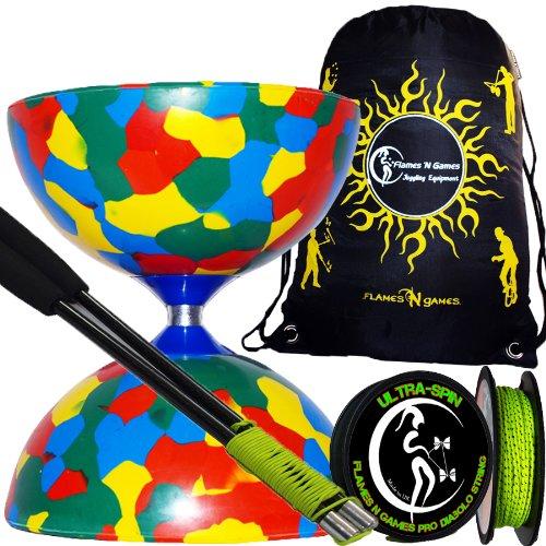 Jester Diabolo Set (multicolore)+ Diablo Baguettes en CARBONE + 10m ULTRA-SPIN Pro Ficelle Diabolo + Sac de transport.
