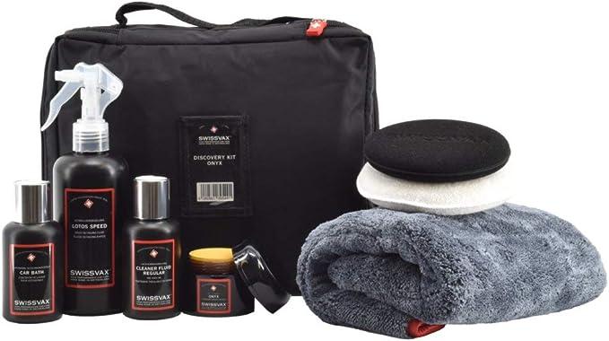 Swissvax Discovery Kit Onyx Autopflege Set Mit Carnauba Wachs Politur Detailer Autoshampoo Poliertuch Und Pads Auto