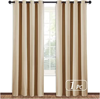 NICETOWN Room Darkening Biscotti Beige Curtain - Modern Design Light Reducing & Privacy Protection Short Window Drape/Drapery for Kid's Room, 52x84 inches, 1 Piece