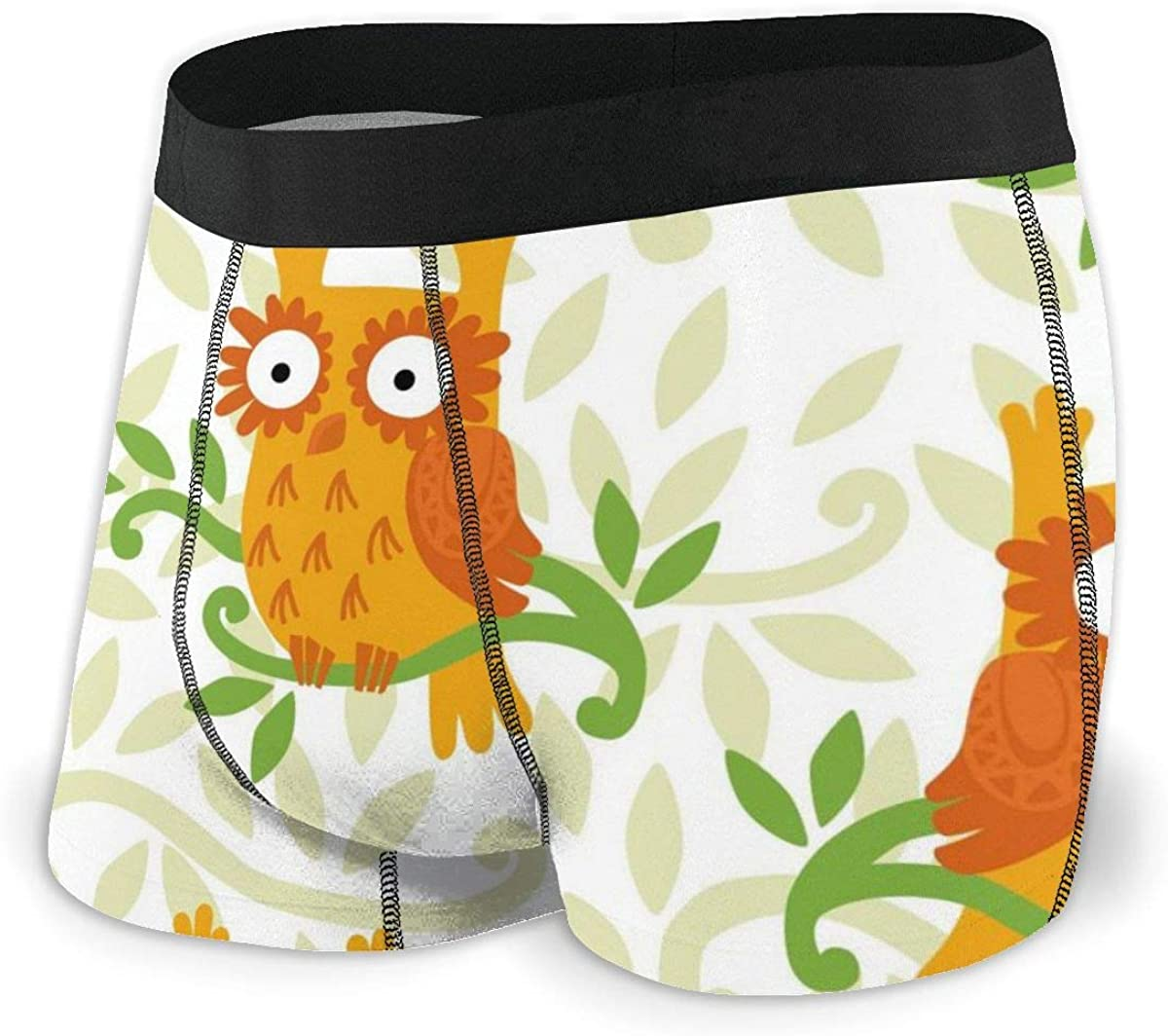 Mens Boxer Briefs Forest Owl Seamless Vector Breathable Underwear