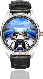 InterestPrint Bolide Driving High Speed Road Men's Waterproof Wrist Watches Black Leather Band Watch