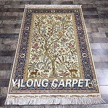FidgetFidget Yilong 3.3'x5' Handmade Silk Carpet Persian Exclusive Tree of Life Rug ZQG84A