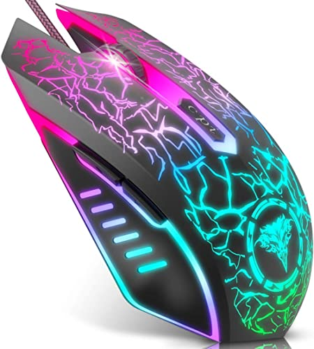 BENGOO Gaming Mouse Wired, USB Optical Computer Mice with RGB Backlit, 4 Adjustable DPI Up to 3600, Ergonomic Gamer L...