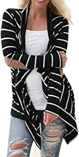 36abada5450 Venmo Las Mujeres Ocasionales Manga Larga Rebecas de Rayadas Remiendo  Delgada Outwear